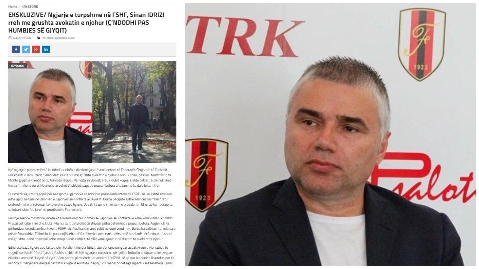 Sherr në FSHF, Sinan Idrizi godet avokatin që i fitoi gjyqin e futbollistit