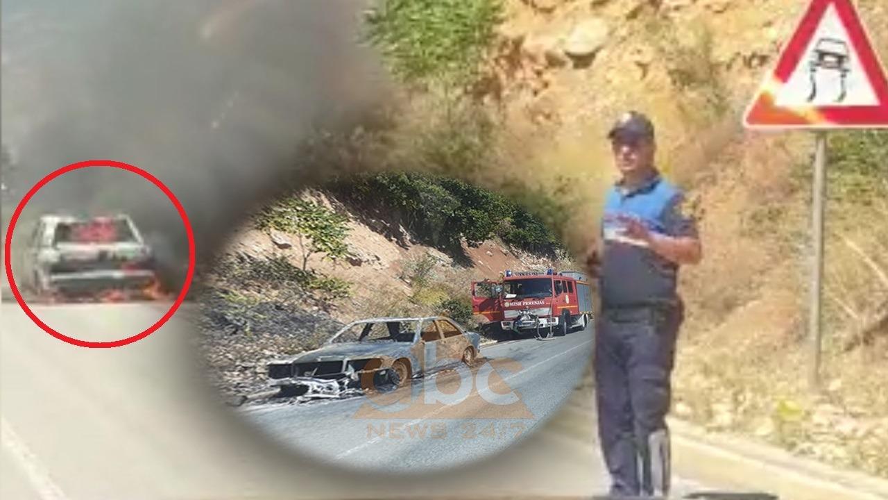 VIDEO/ Mori flakë në ecje, shkrumbohet totalisht makina në Prrenjas