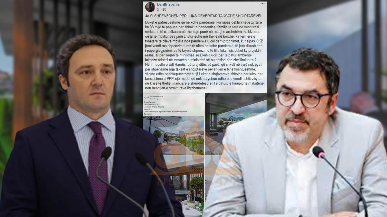 Bardh Spahia nxjerr fotot: Bledi Çuçi projekton ambient relaksi në tarracën e ministrisë