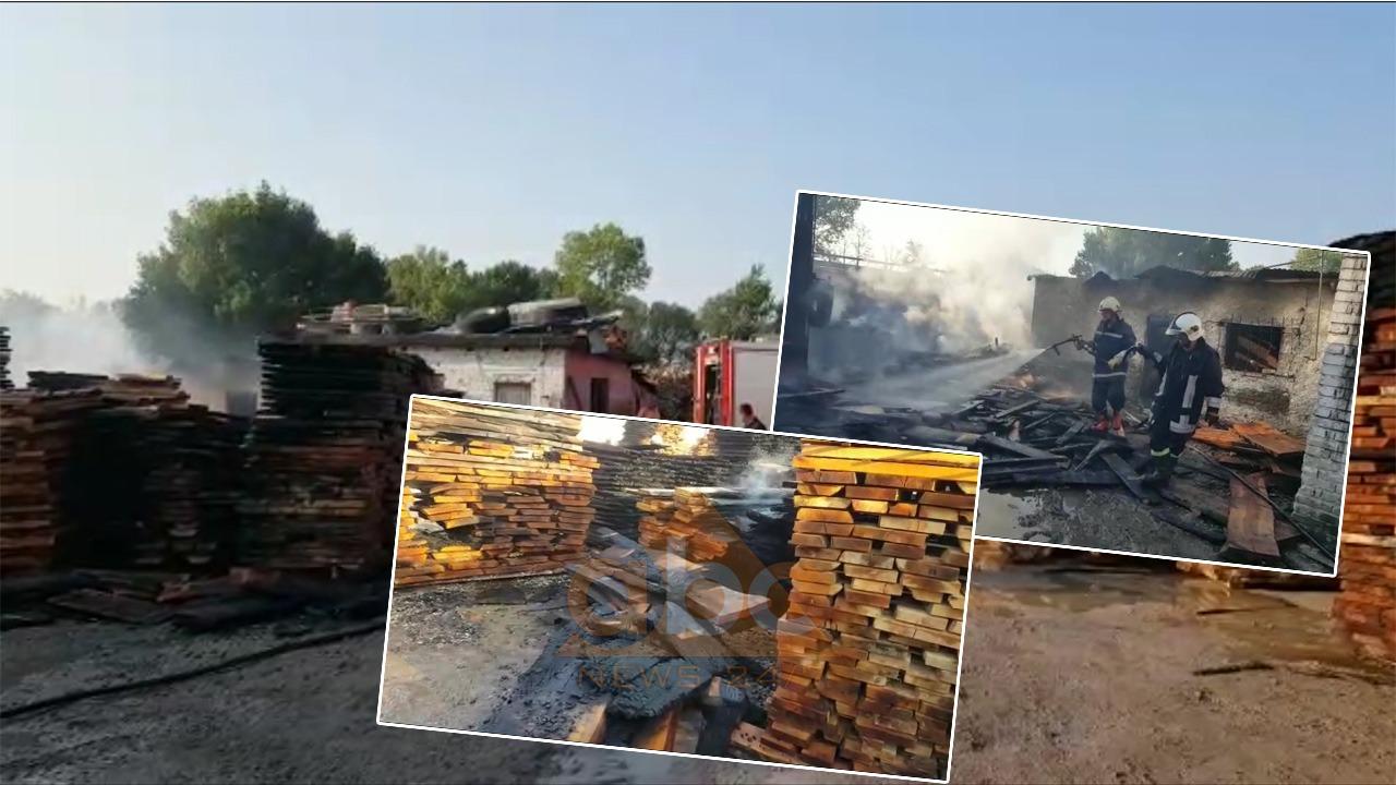 Digjet fabrika e prodhimit të paletave në Fushë-Krujë, zjarri dyshohet i qëllimshëm
