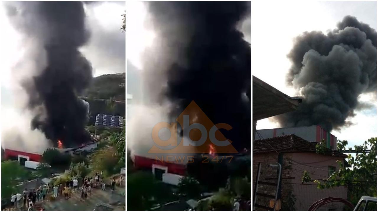 FOTO+VIDEO/ Përfshihet nga flakët një fasoneri në Skrapar, rrezikohet nënstacioni elektrik