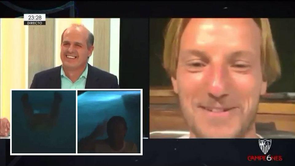 VIDEO/ Ishte në lidhje direkte, Rakitic befason dhe zhytet në pishinë i veshur