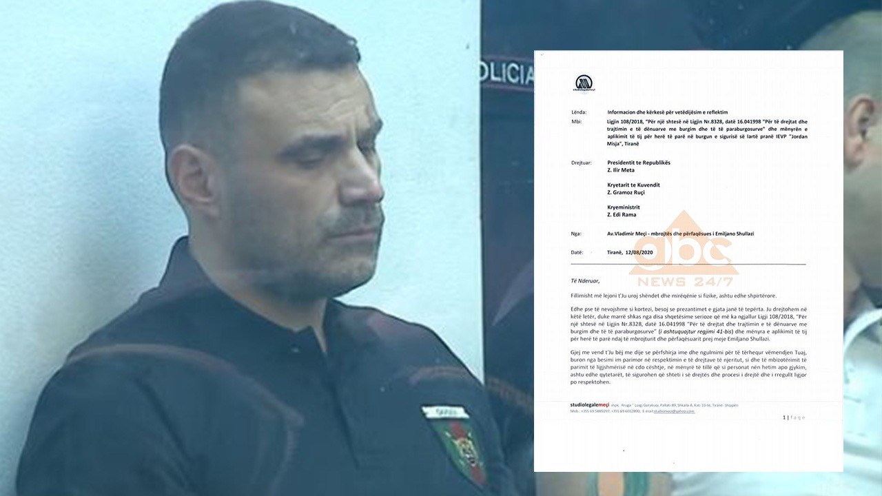 """Avokati i Shullazit ankohet për izolimin """"41-BIS"""", letër Metës, Ramës dhe Ruçit"""