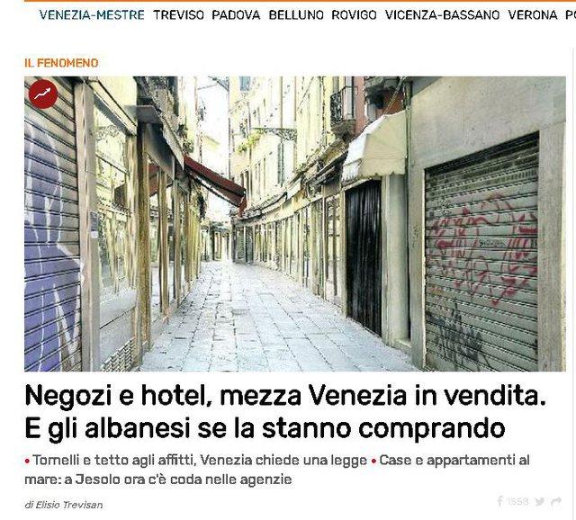 Hotele, dyqane, media italiane: Shqiptarët po blejnë gjysmën e Venecias