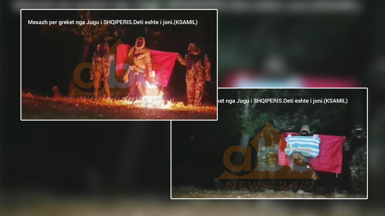 VIDEO/ Digjet flamuri grek në Ksamil, persona të maskuar i vënë flakën