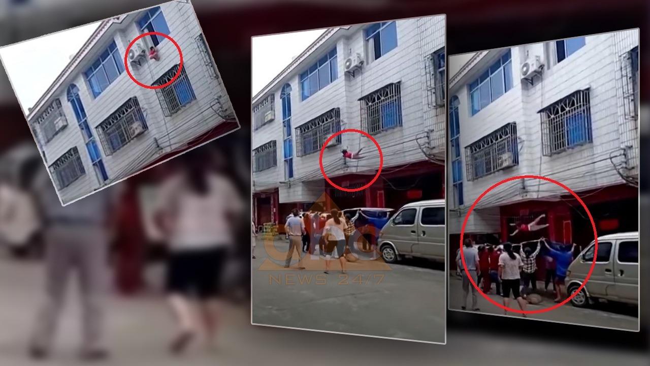 Video tronditëse: Fqinjët shpëtojnë vajzën e vogël që ra nga kati i dytë