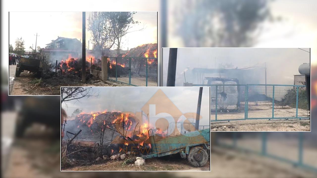 Zjarr në magazinën e barit në Fier, shkrumbohet furgoni! Flakët i afrohen banesave