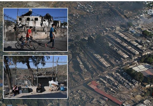 FOTO/ Zjarri shkatërron kampin e Morias në Greqi, mijëra emigrantë në rrugë
