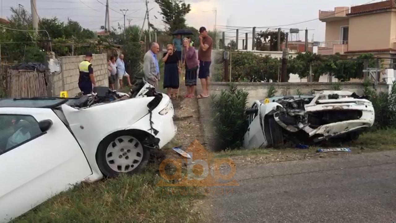 VIDEO/ Aksident në Fier, makina del nga rruga, plagosen dy persona