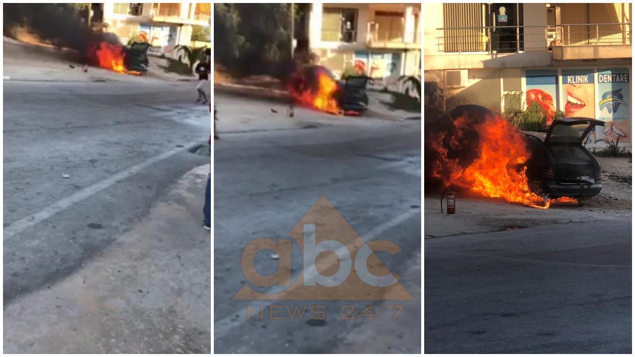 'Benz'-i i zyrtarit të PD-së merr flakë në ecje në Sarandë, pasagjerët dalin me shpejtësi (PAMJET)