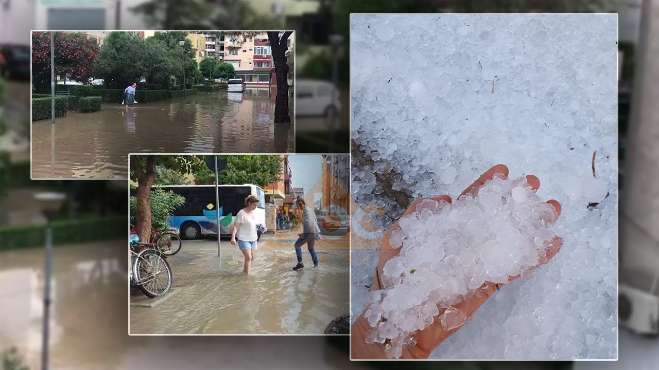 """Reshjet përmbytin rrugët e Durrësit dhe lagjen """"Besa"""" në Lezhë, në Konispol breshëri dëmton të mbjellat"""