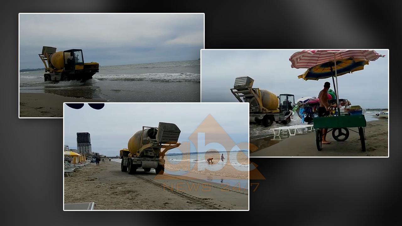 VIDEO/ Betonierja kalon përmes rërës që të derdhë betonin në det