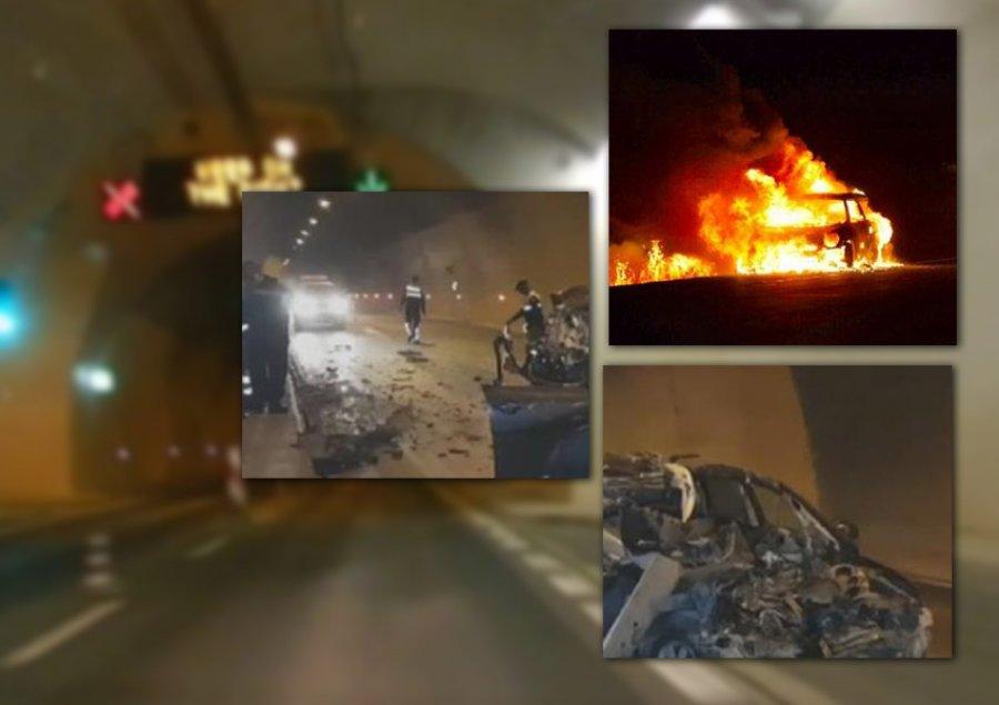 Merr flakë makina brenda tunelit të rrugës Elbasan-Tiranë