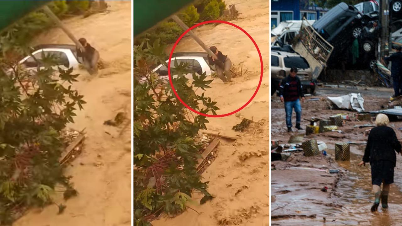 Momente paniku nga përmbytjet në Greqi, gruaja ngjitet në shtyllë për të shpëtuar nga rrjedha e ujit