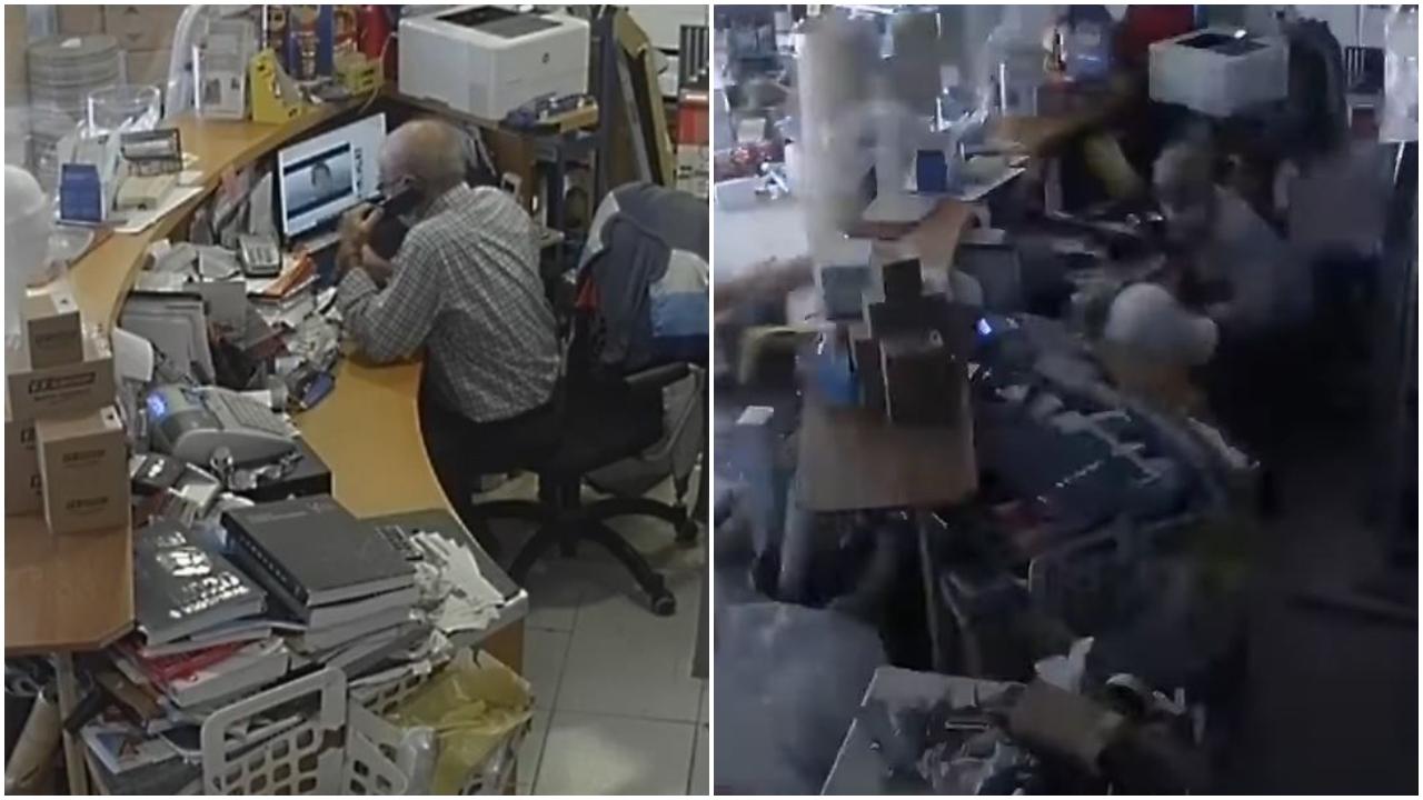 VIDEO/ Tërmeti shkund dyqanin ngjitur me godinën që zuri poshtë dy nxënësit, si reagon pronari
