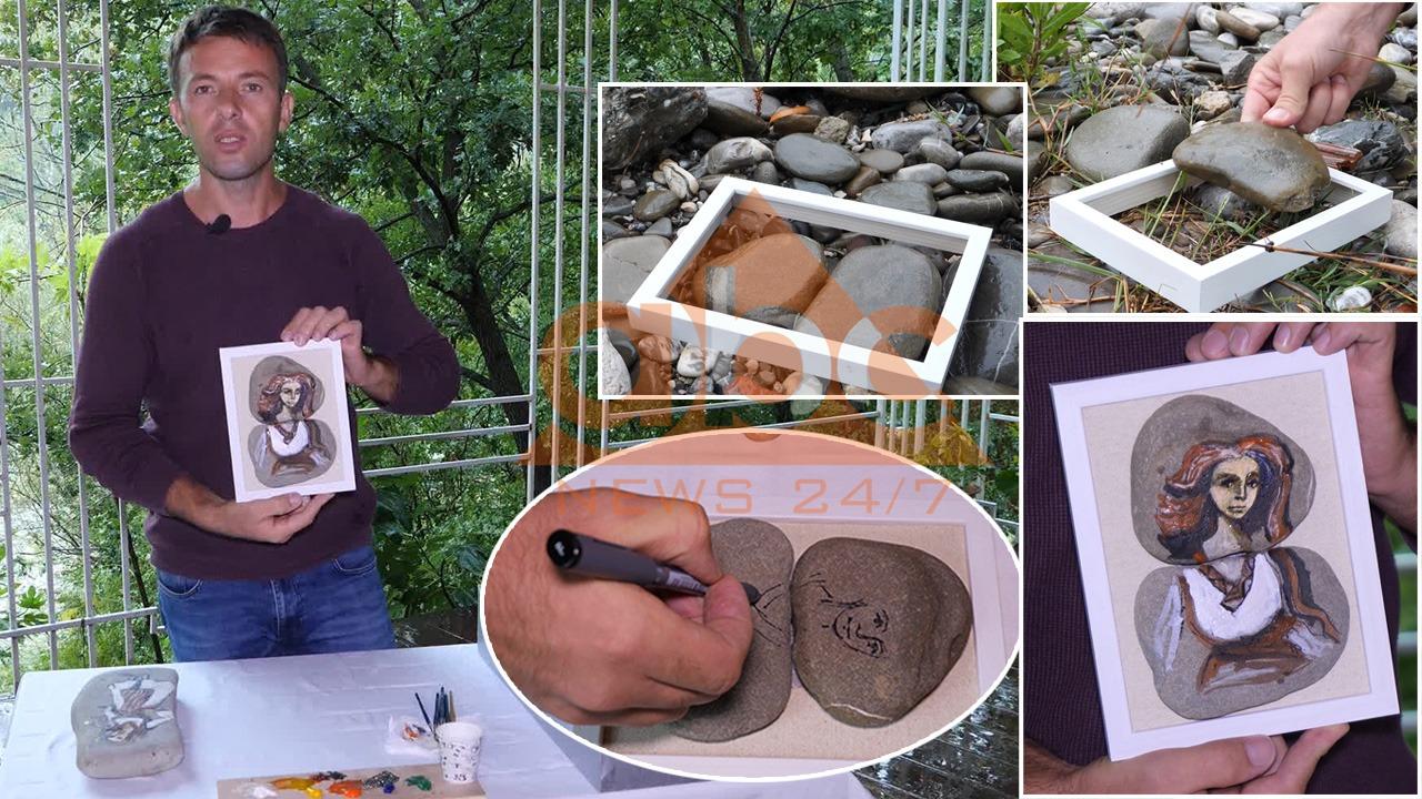 """Gani Çekrezi, artisti që i jep """"jetë"""" gurit me pikturat e veçanta"""