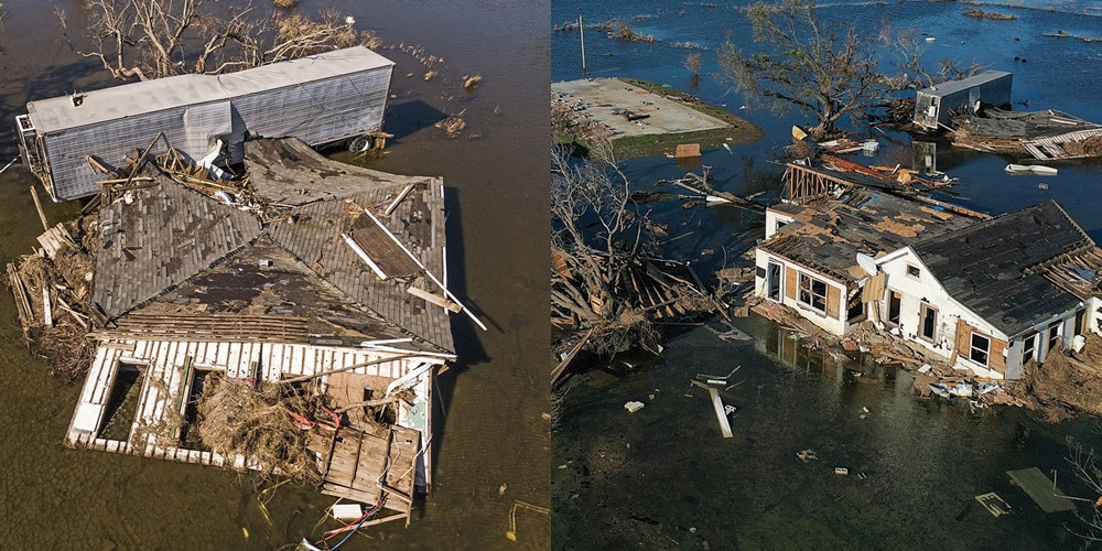 Pamjet nga droni, shkatërrimi që lanë pas urganet Delta dhe Laura në SHBA