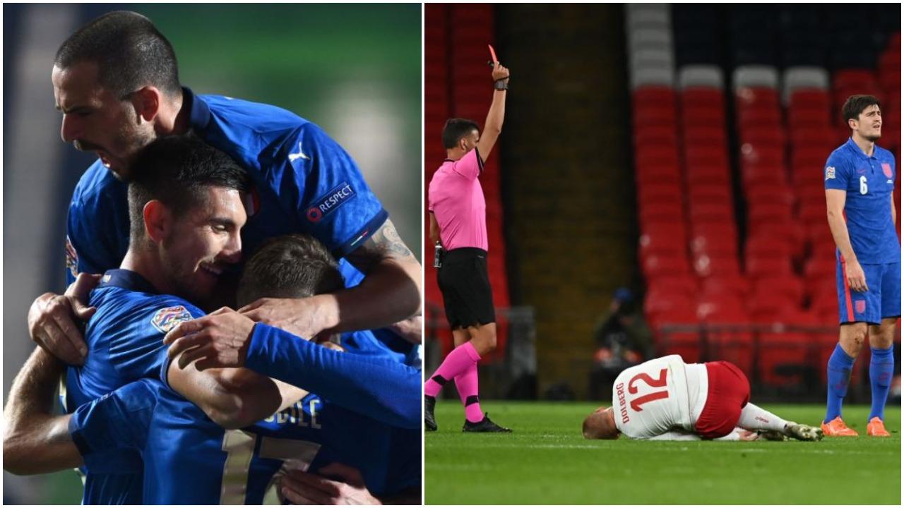VIDEO/ Maguire skandaloz. Eriksen ndëshkon Anglinë! Dy gola në Itali-Holandë