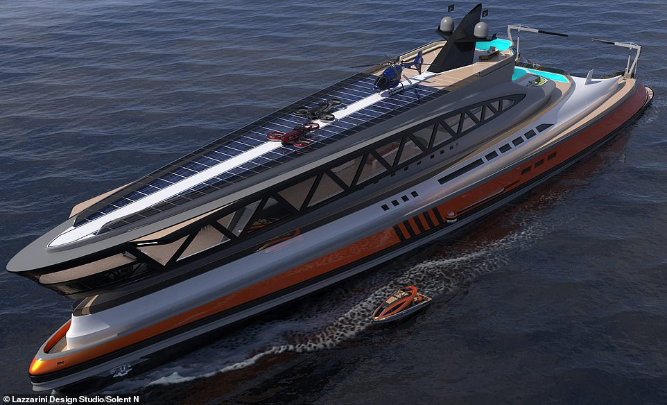 Me pistë helikopteri dhe pishina, mega jahti 450 milionë £ që duket si peshkaqen