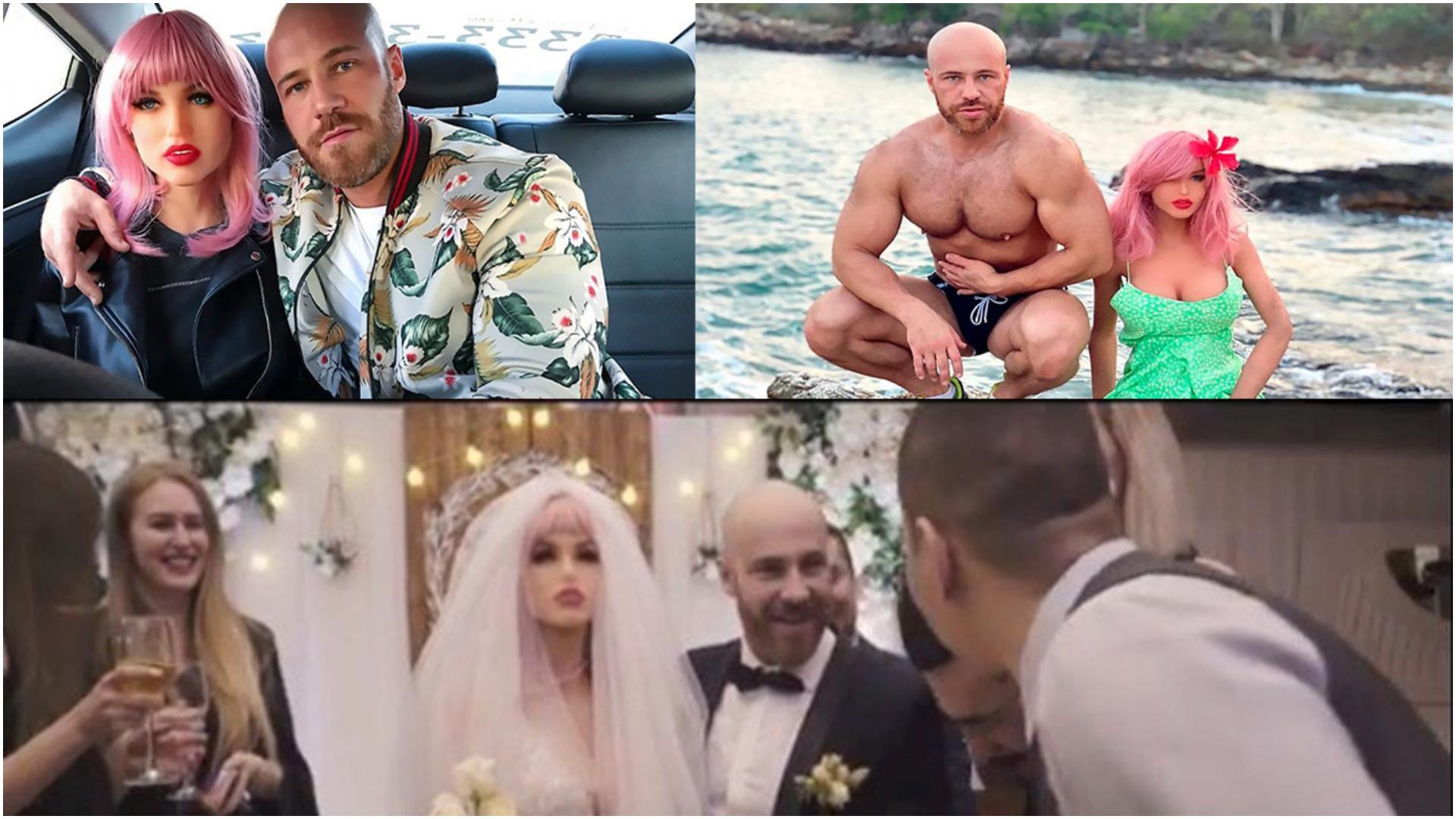VIDEO/Ceremonia u shty për shkak të Covid, bodybuilder rus martohet  me kukullën seksi