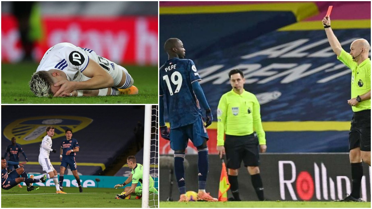 VIDEO/ Nuk ka fitues në Leeds-Arsenal, Pepe godet me kokë një shqiptar