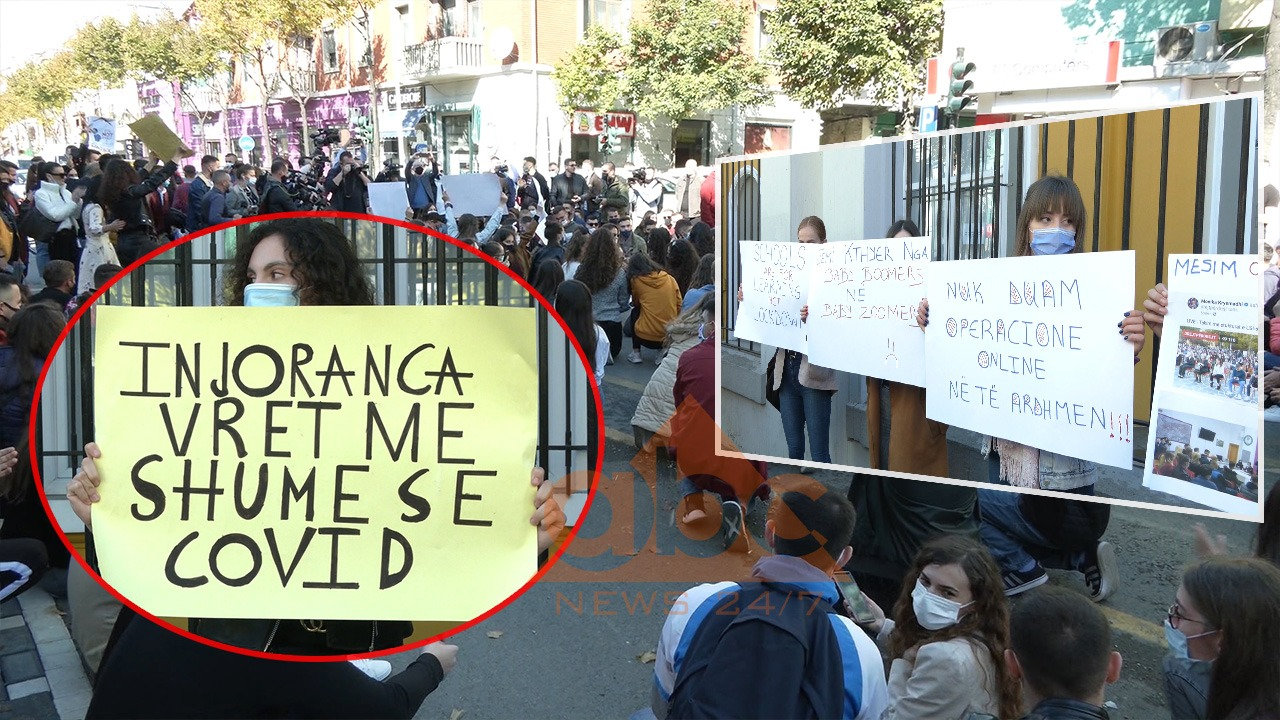 """""""Injoranca vret më shumë se Covidi"""", në protestën e studentëve dhe pedagogë, bllokohet rruga e """"Durrësit"""""""