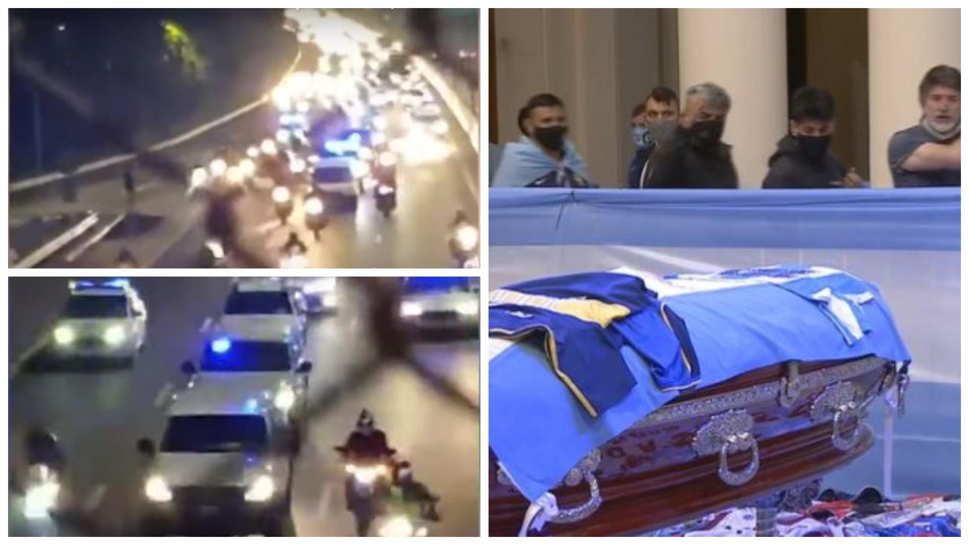 VIDEO/ Forca sigurie pa fund dhe mbështetës nëpër rrugë, transportimi i trupit të Maradonës
