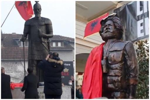 """Kreu i Prizrenit """"lan duart"""" nga statujat e Skënderbeut dhe Adem Jasharit"""