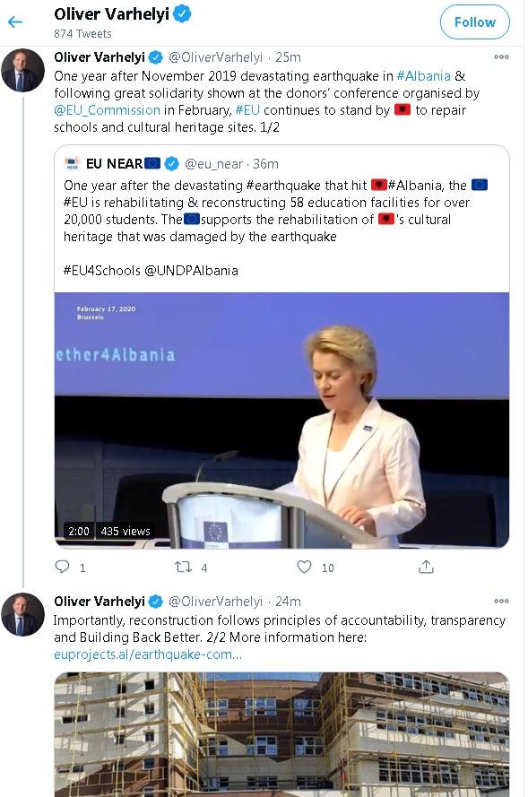 Varhelyi kujton 26 nëntorin: Shtetet e BE-së u solidarizuan me Shqipërinë