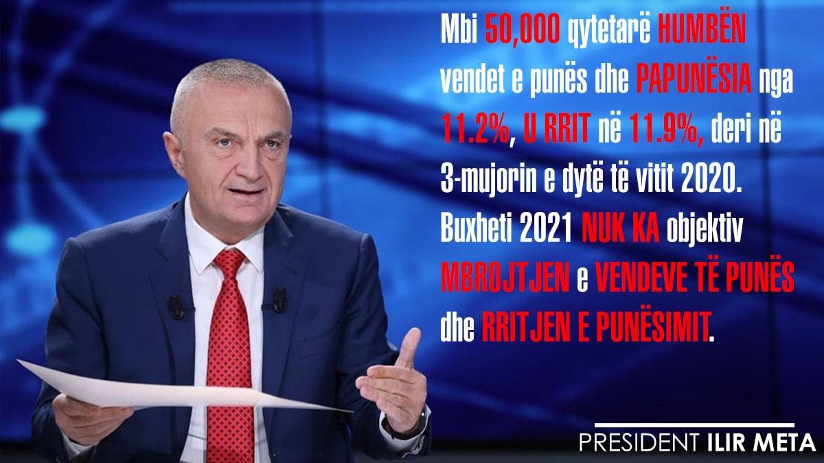 Meta: 50 mijë shqiptarë humbën vendet e punës, në buxhetin 2021 nuk ka asnjë objektiv mbrojtëse