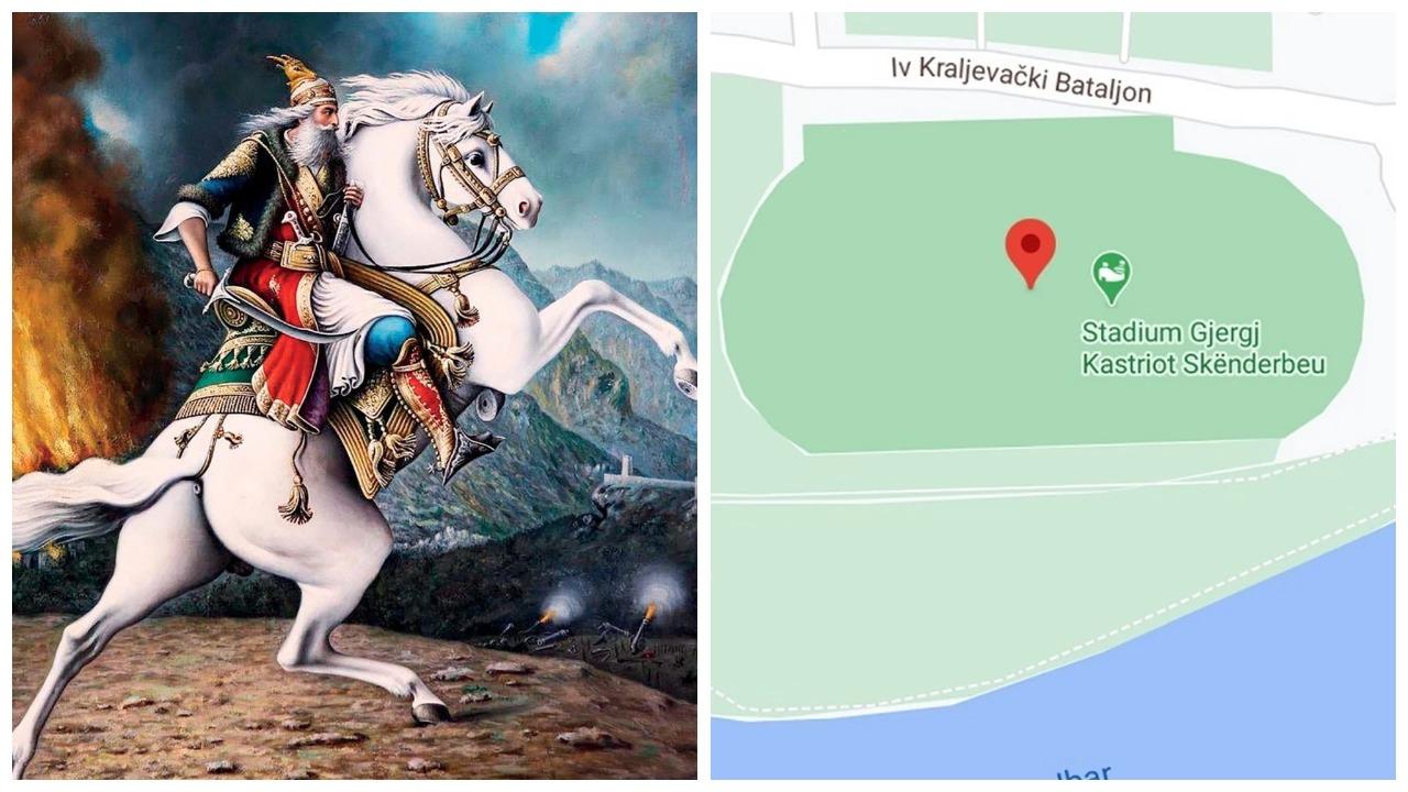 """Stadiumin në Serbi e quajnë """"Gjergj Kastrioti"""", lumë komentesh në rrjetet sociale"""