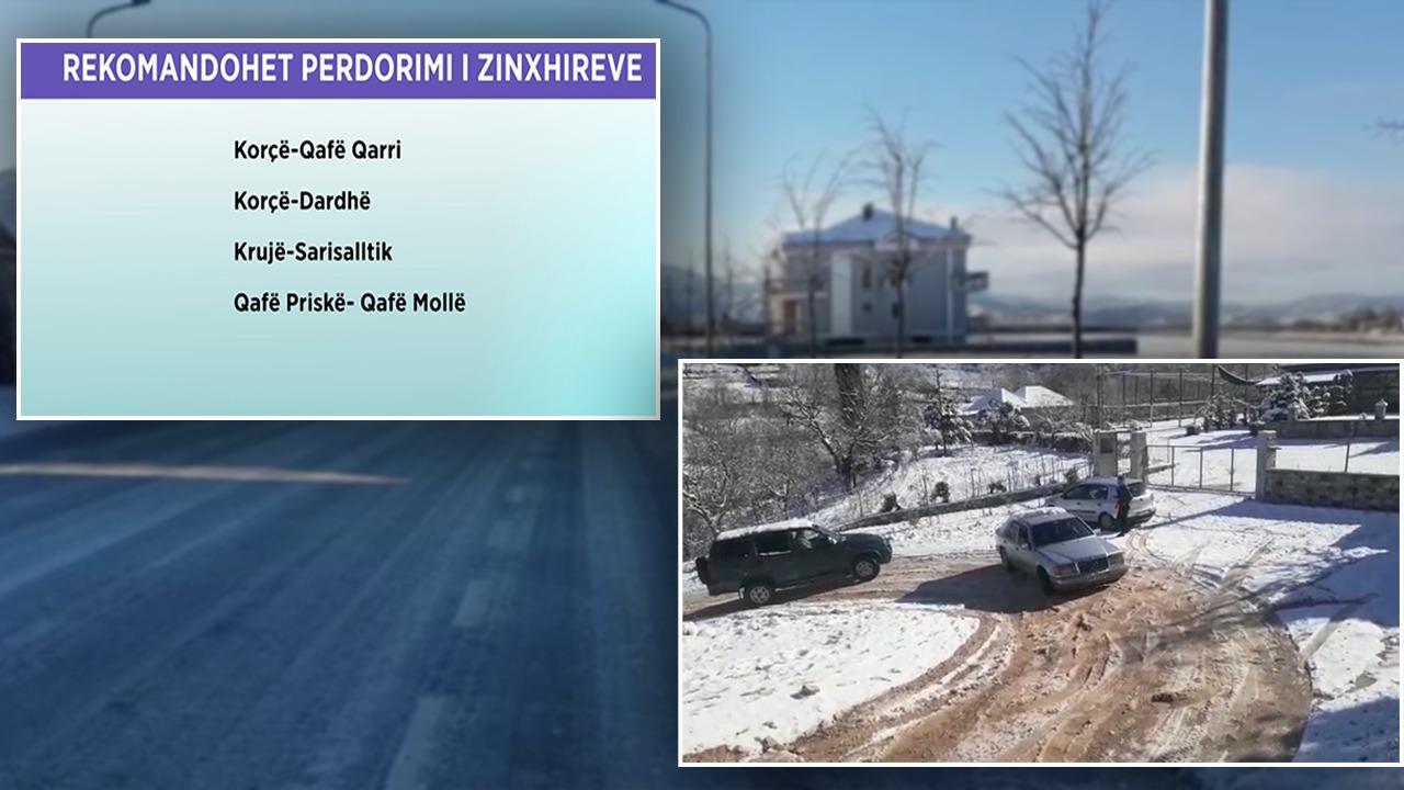 Ngricat dhe bora vështirësojnë qarkullimin e automjeteve, rrugët ku duhet të lëvizni me zinxhirë