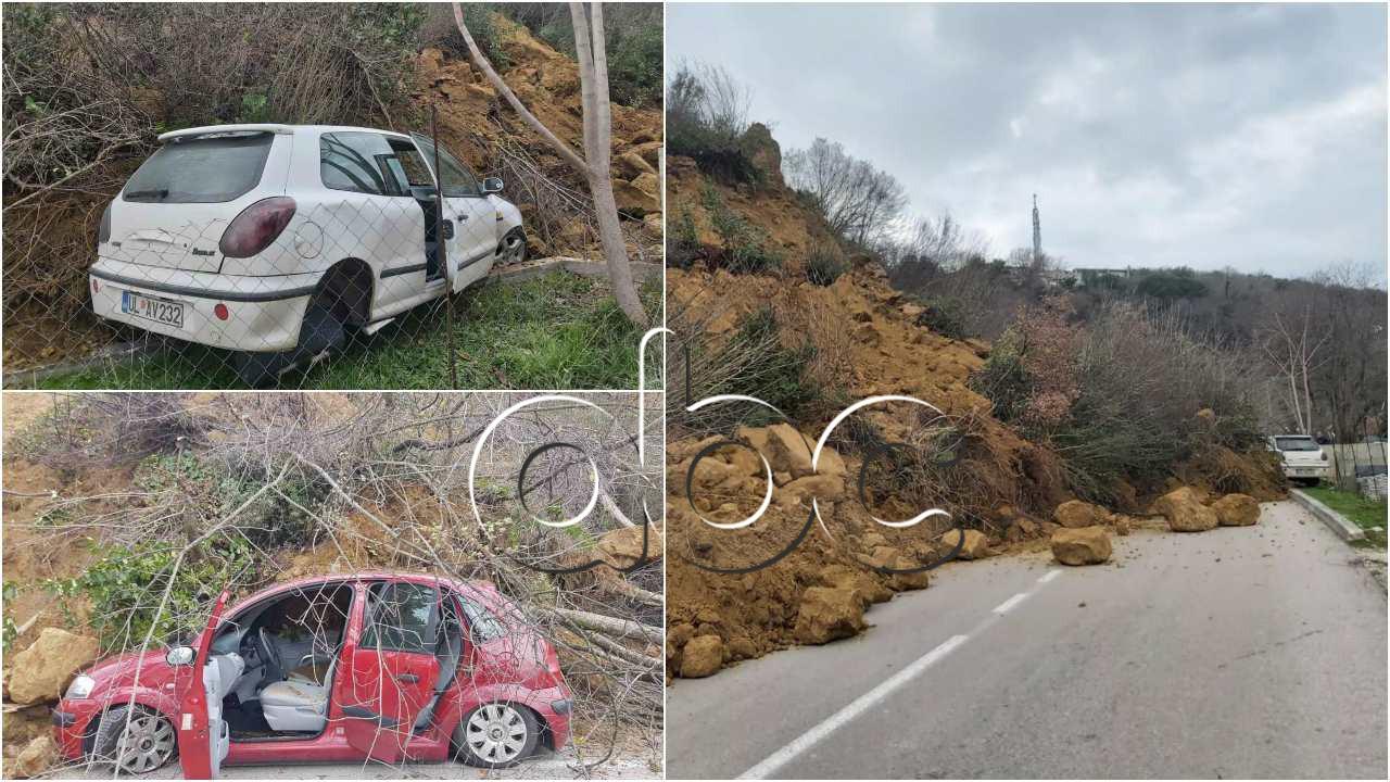 Masivi i dheut bllokon rrugën në Ulqin pas reshjeve, shefi i emergjencave: Rrezik për banesat