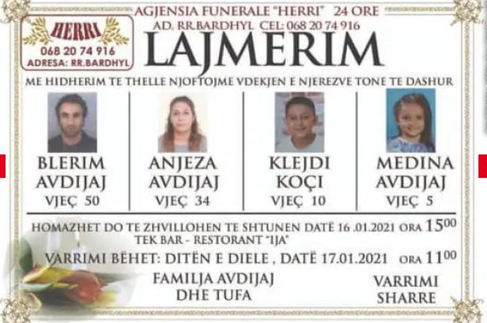 """Humbën jetën pas aksidentit në """"Rrugën e Kombit"""", publikohen fotot e 4 anëtarëve të familjes Avdiaj"""