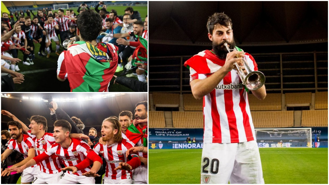 VIDEO/ Festë e veçantë e ekipit unik, trombë dhe kore tek Athletic Bilbao