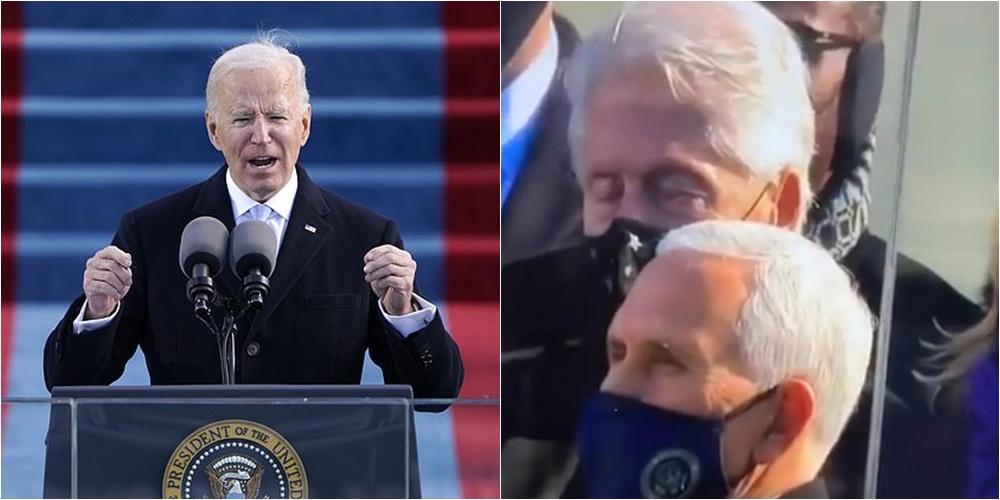 """VIDEO/ Kur të gjithë dëgjonin me vëmendje, Bill Clinton """"dremit"""" gjatë fjalimit të Joe Biden"""
