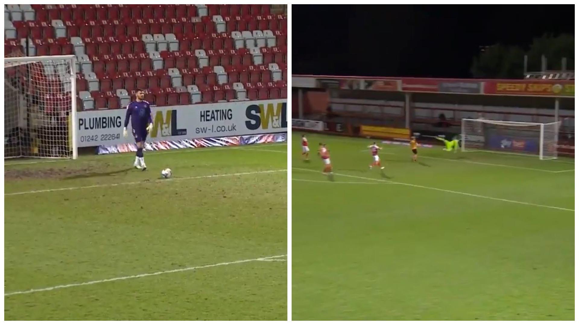 VIDEO/ Gol i rrallë në Angli, goditjen e portierit nuk e ndal dot askush