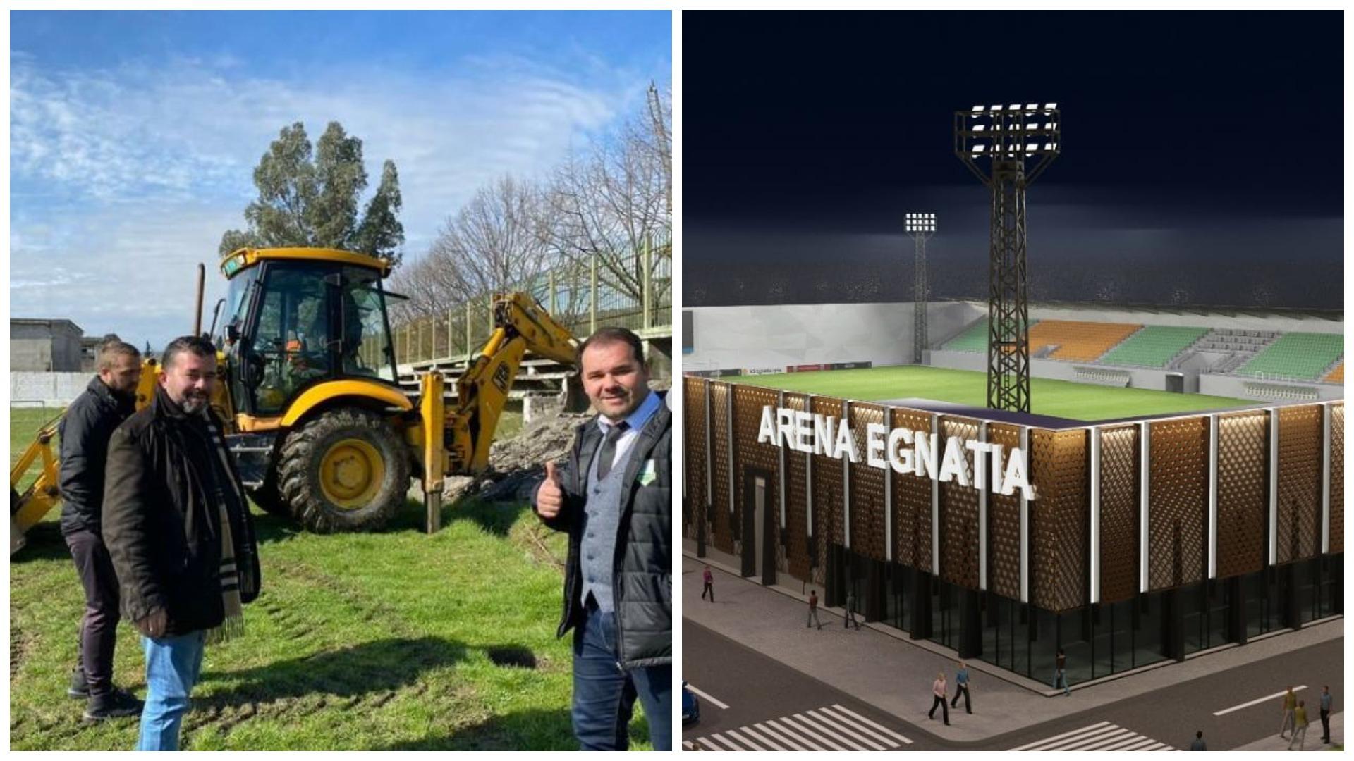 """FOTO/ Stadiumi i ri, nisin punimet për """"Arena Egnatia"""""""