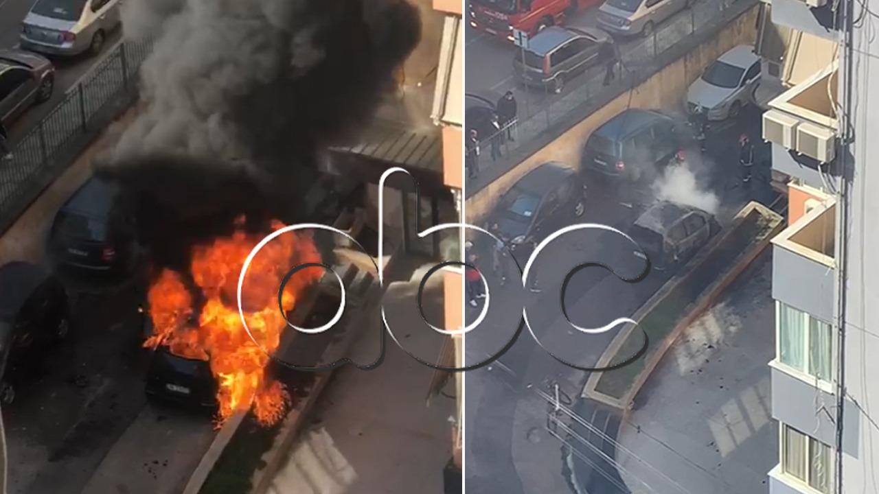 VIDEO/ Shpërthen në flakë makina në Tiranë, tymi mbulon zonën