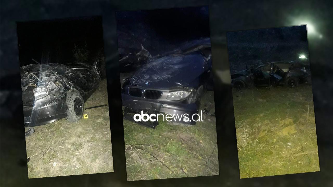 """Pamje nga gremina ku u aksidentua """"BMW""""-ja në Gramsh, një prej të rinjve drejt Traumës"""