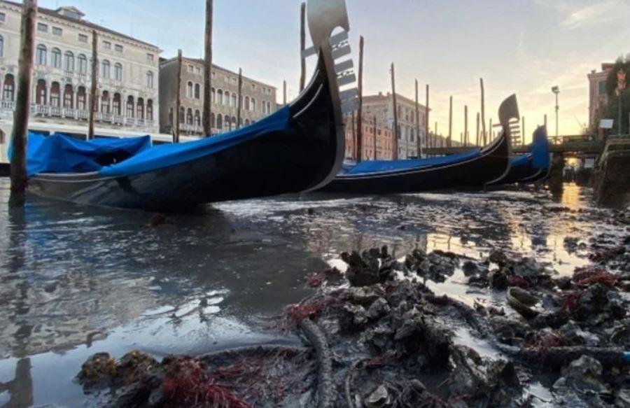 Pamja ndryshe e Venecias, gondolat bllokohen nga balta