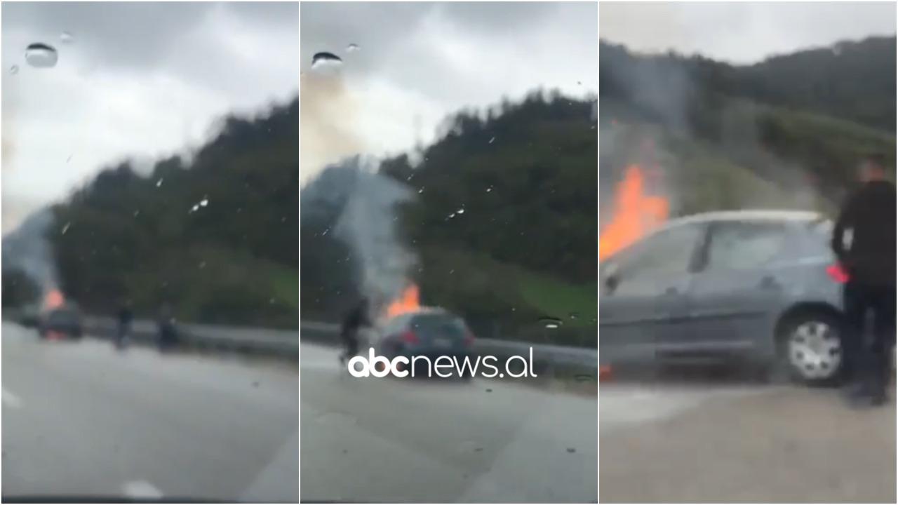 Merr flakë në ecje makina në autostradën Tiranë-Elbasan