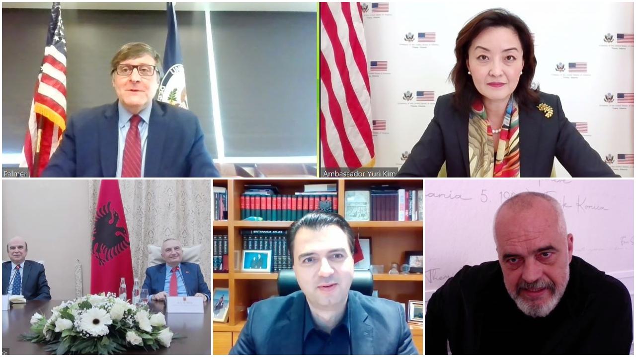 """""""Takimi"""" virtual me Palmer, ambasada: Udhëheqësit të sigurojnë zgjedhje të lira e të ndershme"""