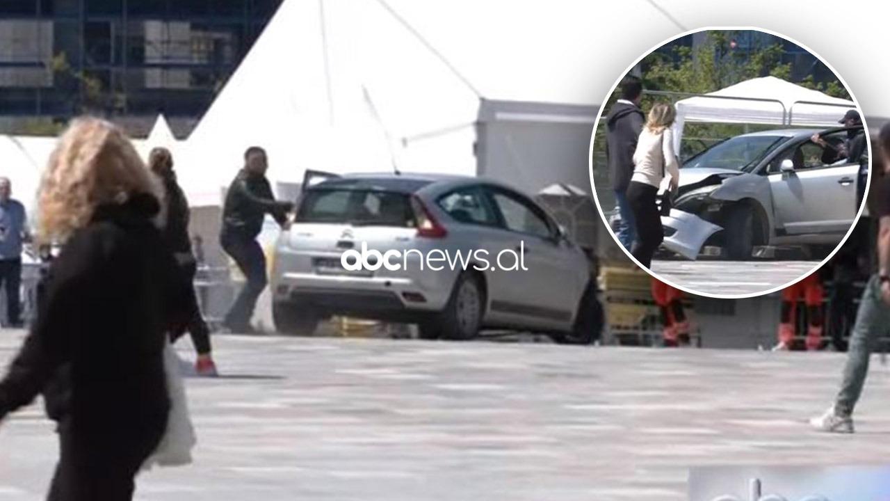 """Makina futet me shpejtësi në sheshin """"Skëndërbej"""", përplasje mes disa personave"""