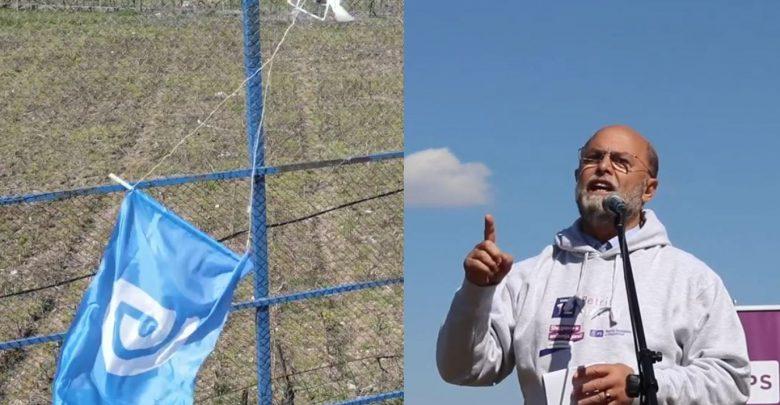 Flamuri i PD-së me dron mbi kokat e socialistëve në Tropojë, kandidati i PS-së nxjerr momentin kur bie