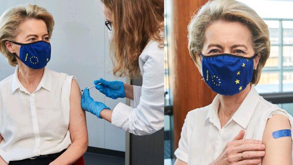 Ursula von der Leyen merr dozën e parë të vaksinës, mesazhi që jep