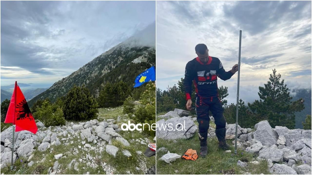 Katër motoristët ngjisin Malin e Çikës, vendosin në majë dy flamujt