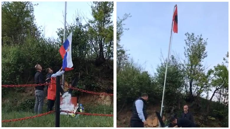 Hiqet serbi e rikthehet flamuri kuqezi tek përmendorja e dëshmorit shqiptar në Preshevë