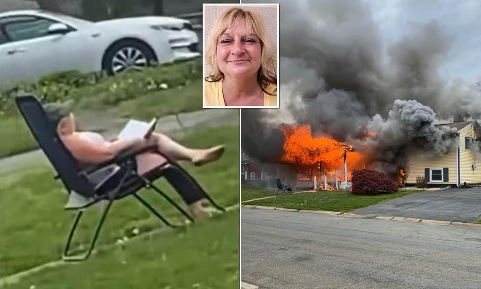 Gruaja i vë flakën shtëpisë dhe një person ishte brenda, skenën e shikon me qetësi ulurnë karrige