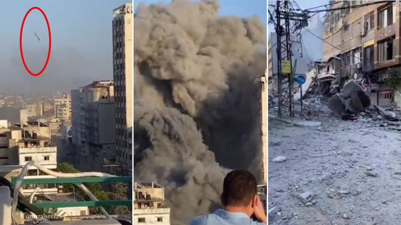 VIDEO/ Kamerat fiksojnë momentin kur dy bombat izraelite shkatërrojnë kullën në Gaza